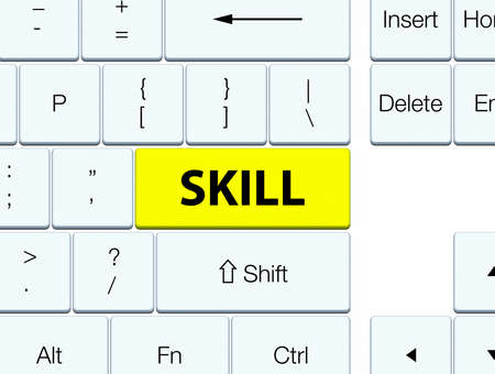Skill isolated on yellow keyboard button abstract illustration