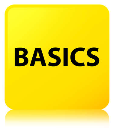 Basics isolated on yellow square button reflected abstract illustration