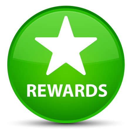 Rewards (star icon) isolated on special green round button abstract illustration