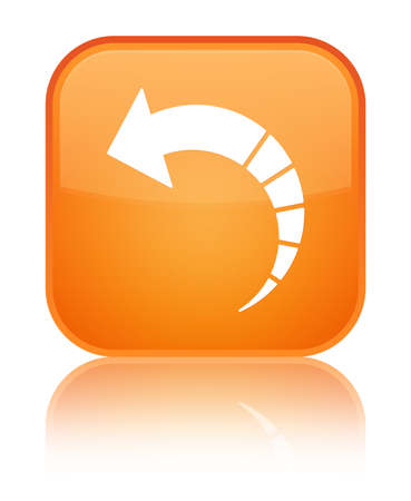Back arrow icon isolated on special orange square button reflected abstract illustration Stock Photo
