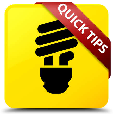 Quick tips (bulb icon) isolated on yellow square button with red ribbon in corner abstract illustration