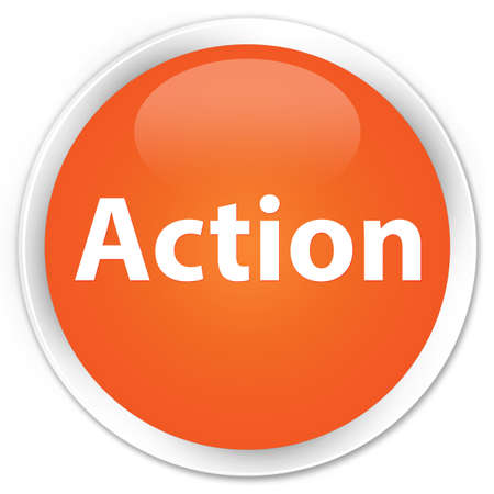 Action isolated on premium orange round button abstract illustration