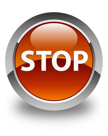Stop isolated on glossy brown round button abstract illustration