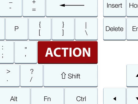 Action isolated on brown keyboard button abstract illustration Фото со стока - 89331090