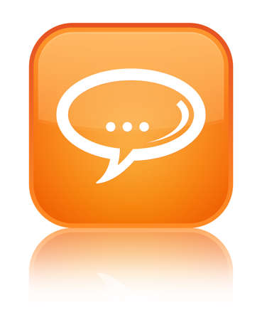 Chat icon isolated on special orange square button reflected abstract illustration