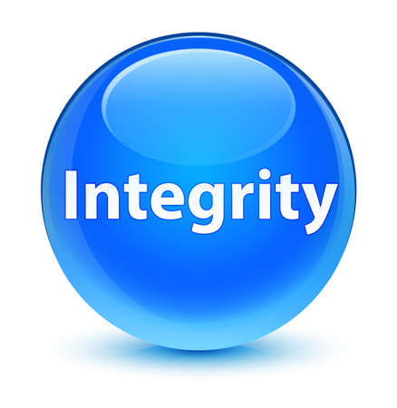 Integrity isolated on glassy cyan blue round button abstract illustration Stock Photo