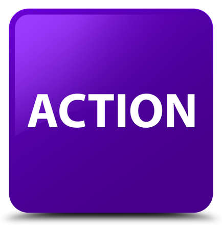 Action isolated on purple square button abstract illustration