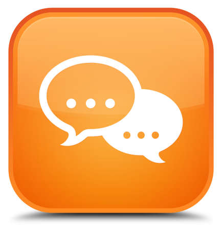 Talk bubble icon isolated on special orange square button abstract illustration Stock Photo