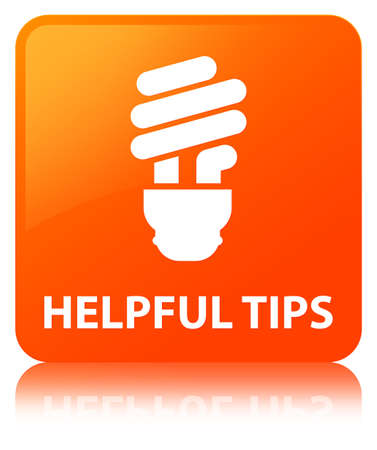 Helpful tips (bulb icon) isolated on orange square button reflected abstract illustration Stock Photo