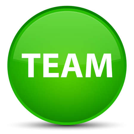 troupe: Team isolated on special green round button abstract illustration Stock Photo