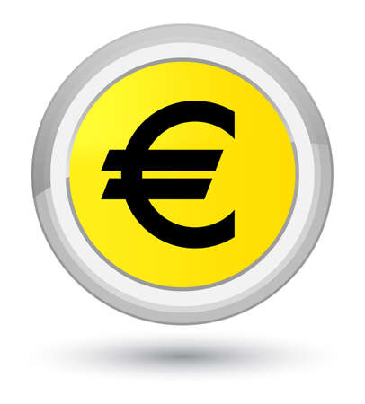 Euro sign icon isolated on prime yellow round button abstract illustration Stock Photo