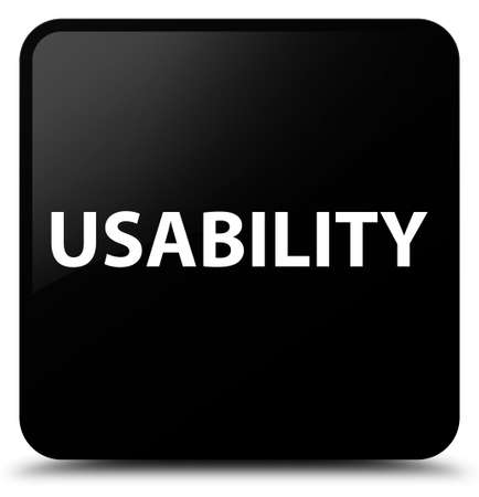 Usability isolated on black square button abstract illustration