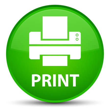 Print (printer icon) isolated on special green round button abstract illustration Stock Photo