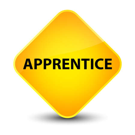 Apprentice isolated on elegant yellow diamond button abstract illustration