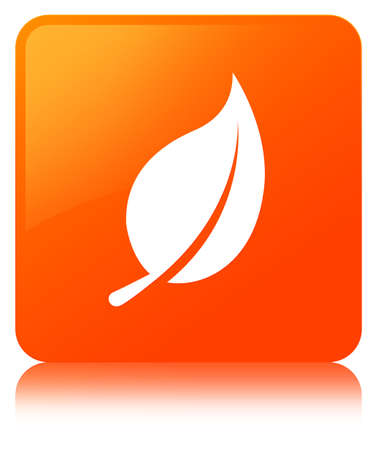 Leaf icon isolated on orange square button reflected abstract illustration Stock Photo