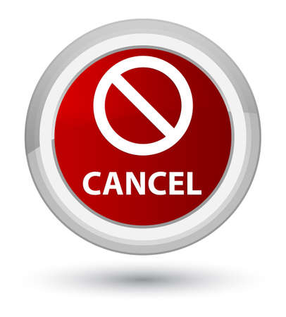 Cancel (prohibition sign icon) isolated on prime red round button abstract illustration Stock Photo