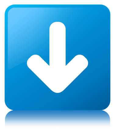 Download arrow icon isolated on cyan blue square button reflected abstract illustration Stock Photo