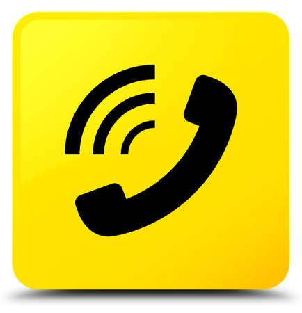 Phone ringing icon isolated on yellow square button abstract illustration