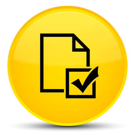 Survey icon isolated on special yellow round button abstract illustration