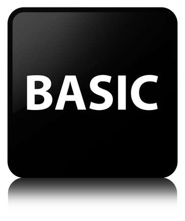Basic isolated on black square button reflected abstract illustration