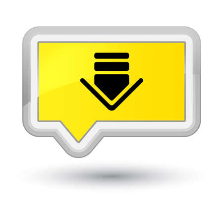 Download icon isolated on prime yellow banner button abstract illustration Stock Photo
