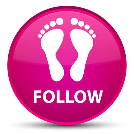 footmark: Follow (footprint icon) isolated on special pink round button abstract illustration