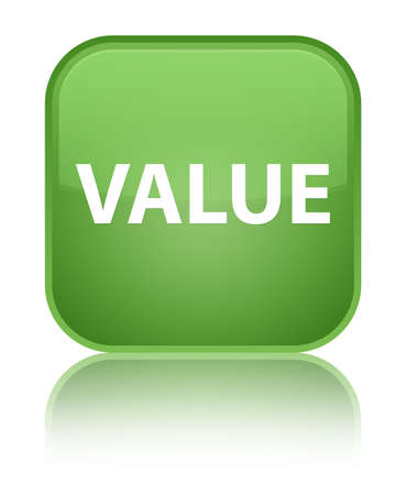 importance: Value isolated on special soft green square button reflected abstract illustration