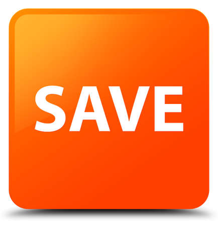 Save isolated on orange square button abstract illustration Stock Photo