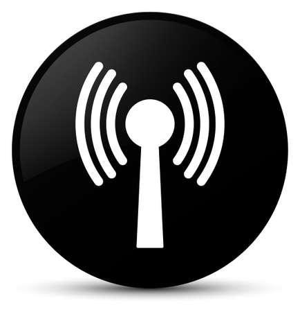 Icône de réseau Wlan isolée sur fond noir rond illustration abstraite de bouton Banque d'images - 89334918