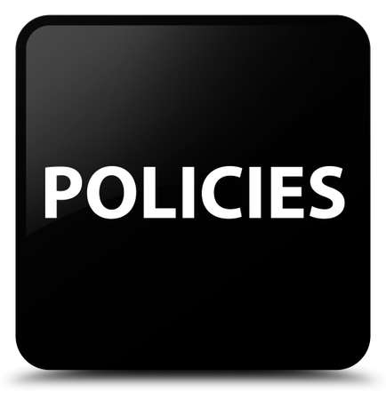 Policies isolated on black square button abstract illustration Stock Photo