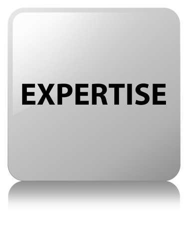 Expertise isolated on white square button reflected abstract illustration
