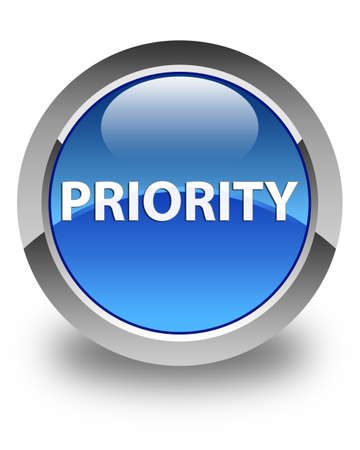 Priority isolated on glossy blue round button abstract illustration