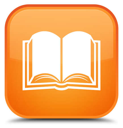 Book icon isolated on special orange square button abstract illustration