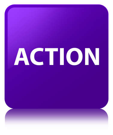 Action isolated on purple square button reflected abstract illustration
