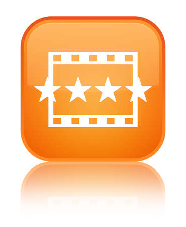 Movie reviews icon isolated on special orange square button reflected abstract illustration Stock Photo