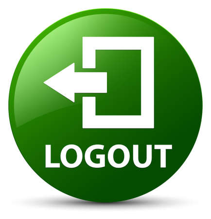 Logout isolated on green round button abstract illustration Stock Photo