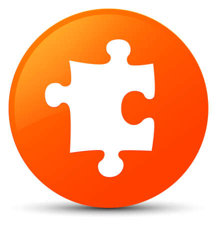 Puzzle icon isolated on orange round button abstract illustration