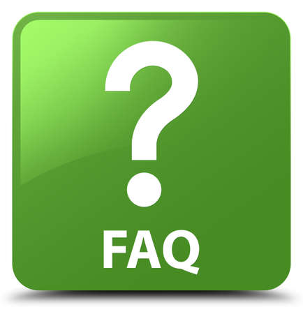 Faq (question icon) isolated on soft green square button abstract illustration