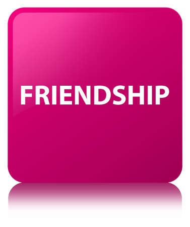 Friendship isolated on pink square button reflected abstract illustration