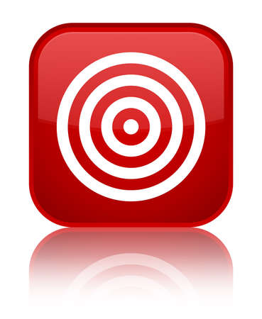 Target icon isolated on special red square button reflected abstract illustration Stock Photo