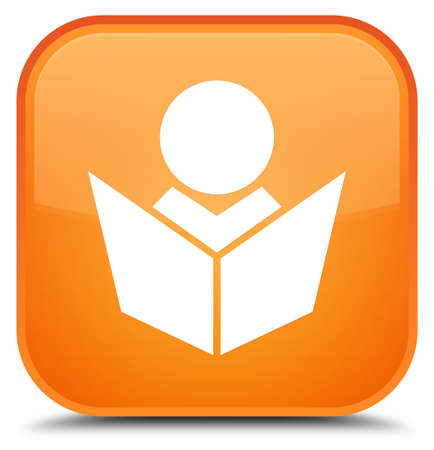 special education: Elearning icon isolated on special orange square button abstract illustration
