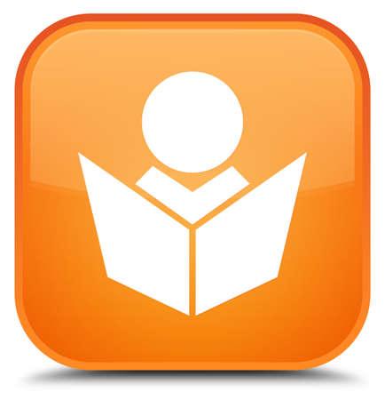 leccion: Icono de Elearning aislado en la ilustración abstracta de botón cuadrado naranja especial Foto de archivo
