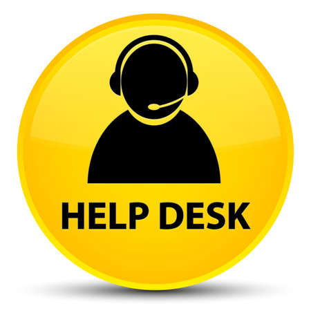 Help desk (customer care icon) isolated on special yellow round button abstract illustration