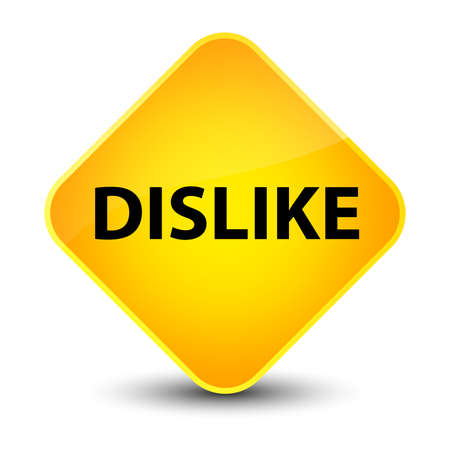 Dislike isolated on elegant yellow diamond button abstract illustration Stock Photo