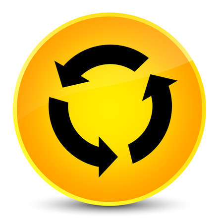 improving: Refresh icon isolated on elegant yellow round button abstract illustration Stock Photo