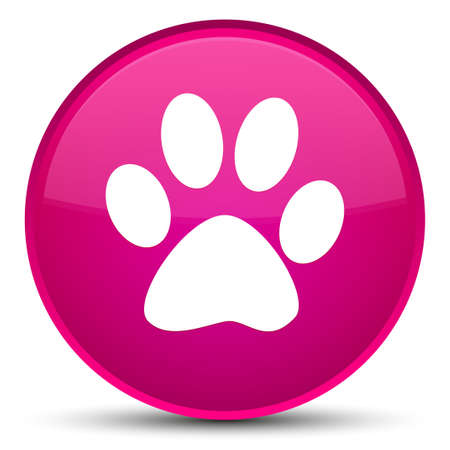 Animal footprint icon isolated on special pink round button abstract illustration