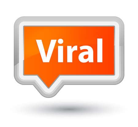 プライムオレンジのバナーボタンの抽象的なイラストに隔離されたウイルス 写真素材