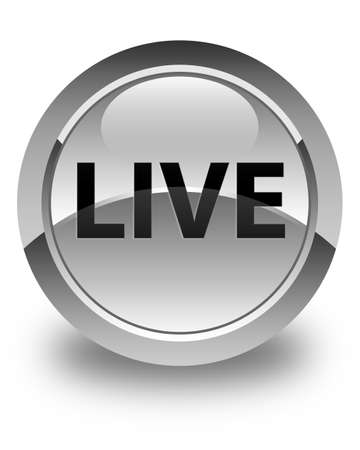 Live isolated on glossy white round button abstract illustration
