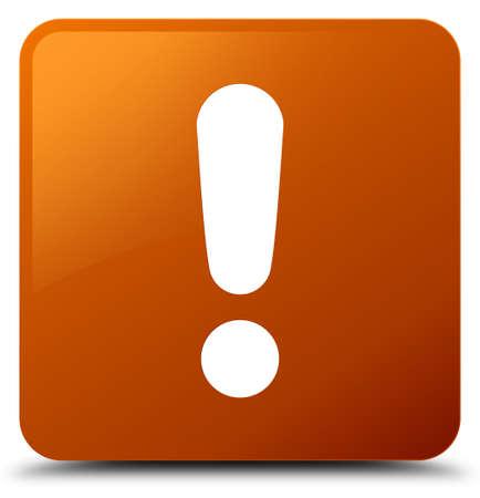Icône de point d'exclamation isolé sur illustration abstraite de bouton carré brun