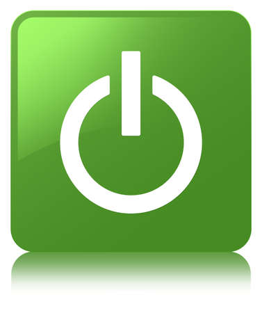 Power icon isolated on soft green square button reflected abstract illustration Stock Photo